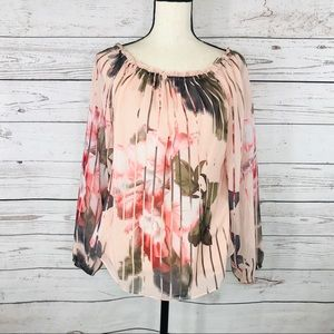 WHBM Top Floral Long Sleeve Lined Ruffled